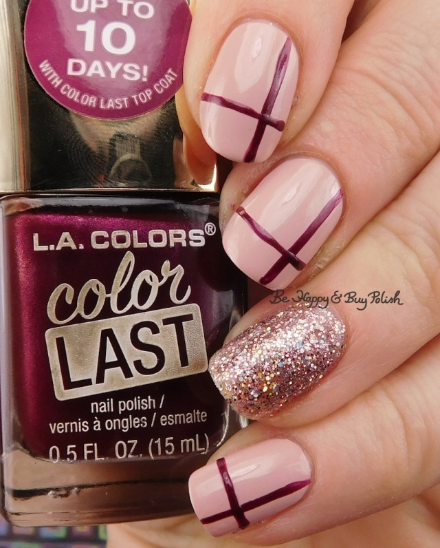 LA Colors Color Last Justice, Color Craze Wanderlust, Cocktail cross hatch nail art | Be Happy And Buy Polish