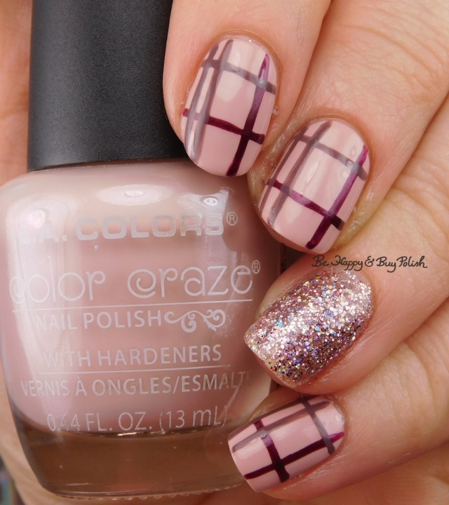 Plaid nail art with LA Colors LA Colors Color Craze Wanderlust, Cocktail, Justice, Road Trip | Be Happy And Buy Polish