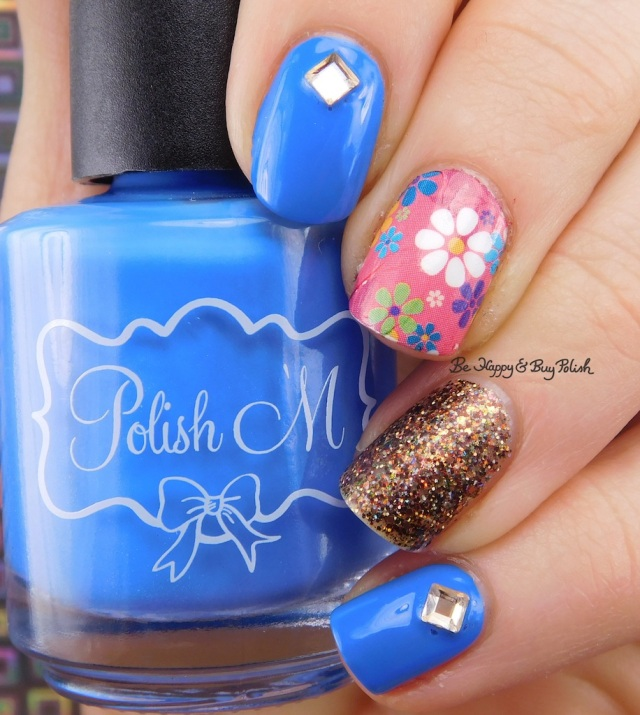 Polish 'M Denim, Different Dimension Go Pluck Yourself, KBShimmer flower water slide decal | Be Happy And Buy Polish