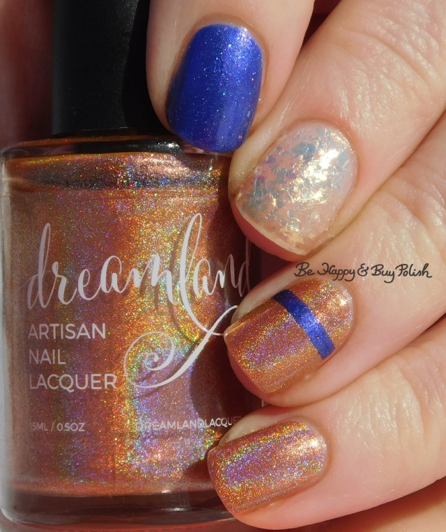 Striped skittlette manicure with Dreamland Lacquer Dragonberry faded holographic, CrowsToes Nail Color Power Stone, Blackheart Beauty White AB Flake | Be Happy And Buy Polish