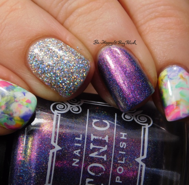 B Squared Lacquer Rave, Kandi, Down Tempo, The Drop, Blackheart Beauty AB Stargazer, Tonic Polish Innocence, Sally Hansen White on Time marbled skittlette close up | Be Happy And Buy Polish