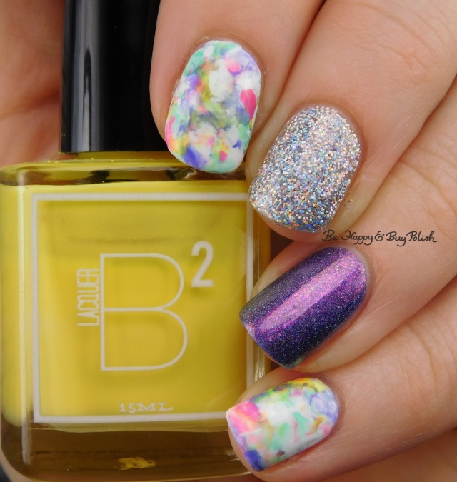B Squared Lacquer Rave, Kandi, Down Tempo, The Drop, Blackheart Beauty AB Stargazer, Tonic Polish Innocence, Sally Hansen White on Time marbled skittlette | Be Happy And Buy Polish