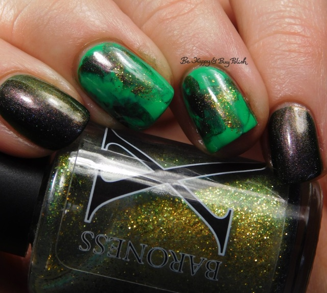 Baroness X Oz, Polish 'M Shamrock, Celestial Cosmetics Are You Mooning Me? St Patrick's Day nail art manicure close up | Be Happy And Buy Polish