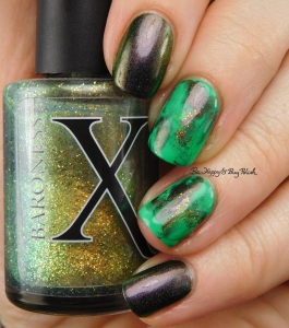 Baroness X Oz, Polish 'M Shamrock, Celestial Cosmetics Are You Mooning Me? St Patrick's Day nail art manicure | Be Happy And Buy Polish