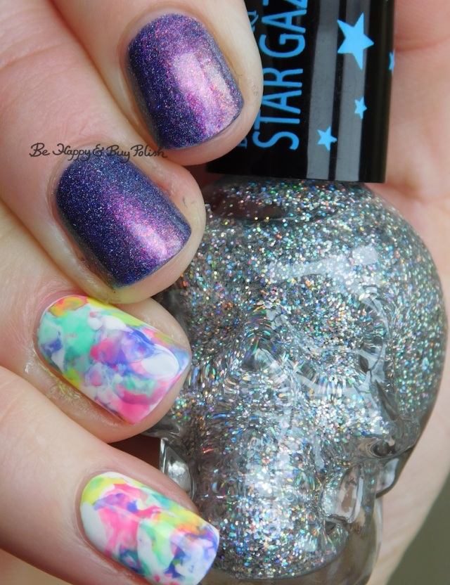 Blackheart Beauty AB Stargazer, Tonic Polish Innocence, Sally Hansen White on Time, B Squared Lacquer Rave, Kandi, Down Tempo, The Drop marbled skittlette close up   Be Happy And Buy Polish
