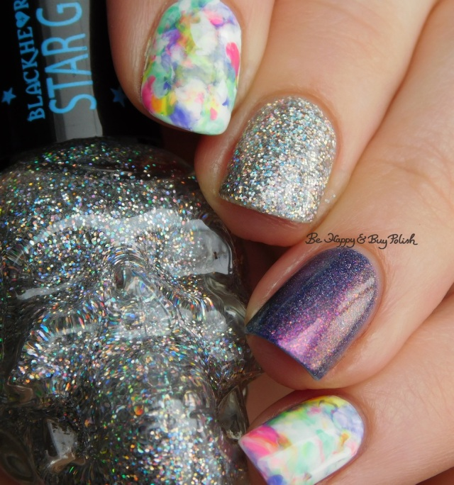 Blackheart Beauty AB Stargazer, Tonic Polish Innocence, Sally Hansen White on Time, B Squared Lacquer Rave, Kandi, Down Tempo, The Drop marbled skittlette   Be Happy And Buy Polish