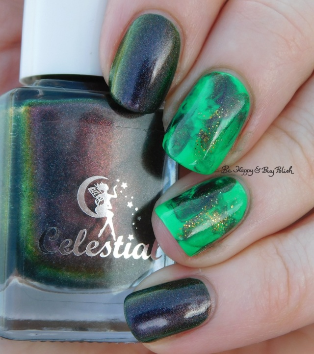 Celestial Cosmetics Are You Mooning Me?, Baroness X Oz, Polish 'M Shamrock St Patrick's Day nail art manicure natural light | Be Happy And Buy Polish