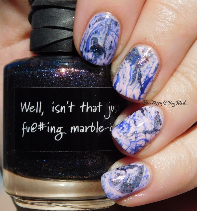 CrowsToes Nail Color Well isn't that just f@#ing marbleous, Sinful Colors Rebel Rebel, Besos for Pesos, spotted watermarble nail art | Be Happy And Buy Polish