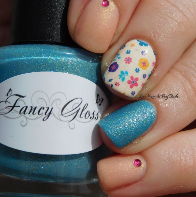 Fancy Gloss textured blue mystery, Blackheart Beauty Pale Pink Shimmer, flower water slide decals, Crystal Parade Romance Mix | Be Happy And Buy Polish