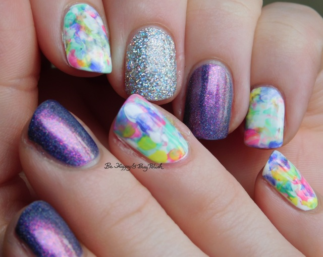 Sally Hansen White on Time, B Squared Lacquer Rave, Kandi, Down Tempo, The Drop, Blackheart Beauty AB Stargazer, Tonic Polish Innocence marbled skittlette nail art manicure   Be Happy And Buy Polish