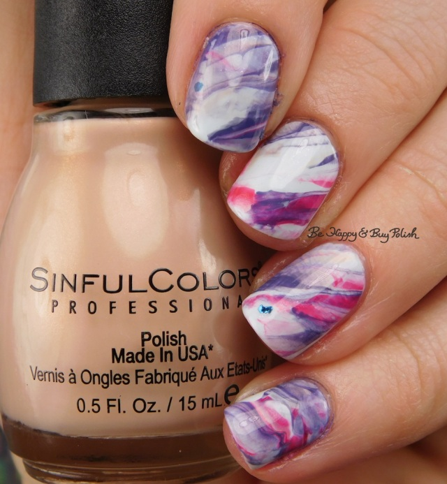 Sinful Colors Coco Bae, Acapella Ella, Sucker Punch, Forbitten Fruit, Cosmotion marbled nail art | Be Happy And Buy Polish
