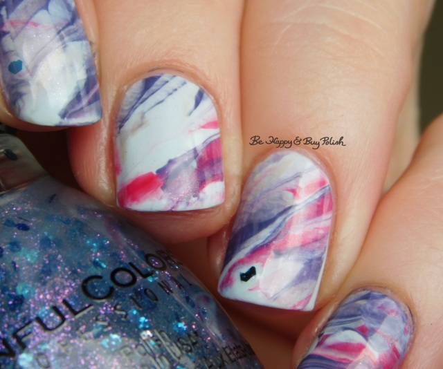 Sinful Colors Cosmotion, Coco Bae, Acapella Ella, Sucker Punch, Forbitten Fruit marbled nail art | Be Happy And Buy Polish