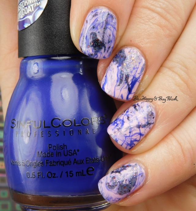 Sinful Colors Rebel Rebel, Besos for Pesos, CrowsToes Nail Color Well isn't that just f@#ing marbleous, spotted watermarble nail art | Be Happy And Buy Polish