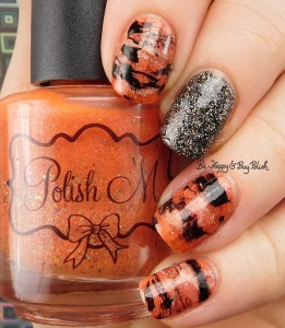 Tiger Stripe nail art manicure with Polish 'M The Great Pumpkin, Formula X Naughty Newton, Oh! Zone, Sinful Colors Coco Bae | Be Happy And Buy Polish