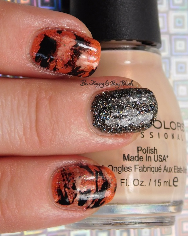 Tiger Stripe nail art manicure with Sinful Colors Coco Bae, Polish 'M The Great Pumpkin, Formula X Naughty Newton, Oh! Zone | Be Happy And Buy Polish
