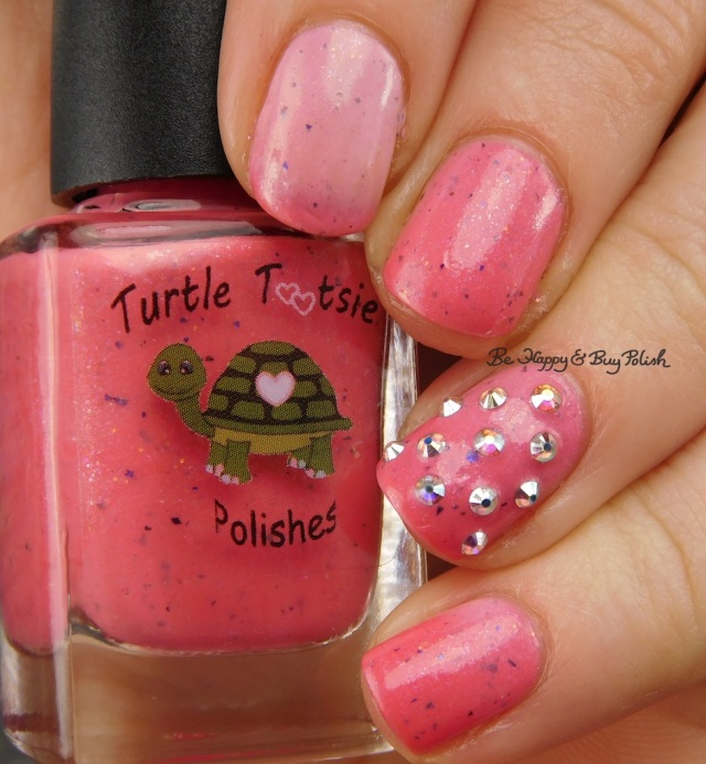 Turtle Tootsie Polishes Pink Velvet with Crystal Parade AB studs transition state | Be Happy And Buy Polish