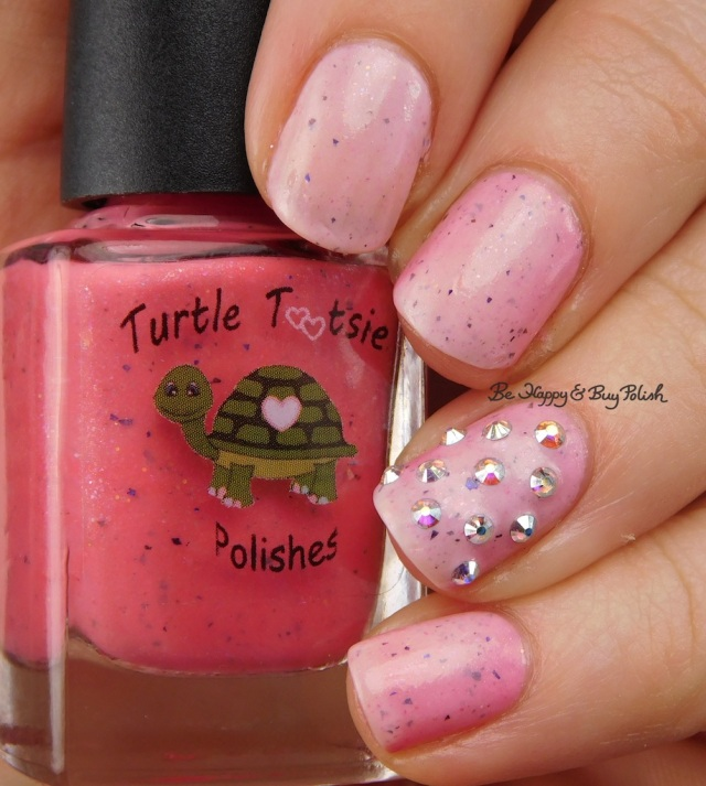 Turtle Tootsie Polishes Pink Velvet with Crystal Parade AB studs warm state | Be Happy And Buy Polish