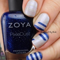 Blue Stripe nail art manicure with Zoya Pixie Dust, Revlon Holo, Cameo Colours Lacquers