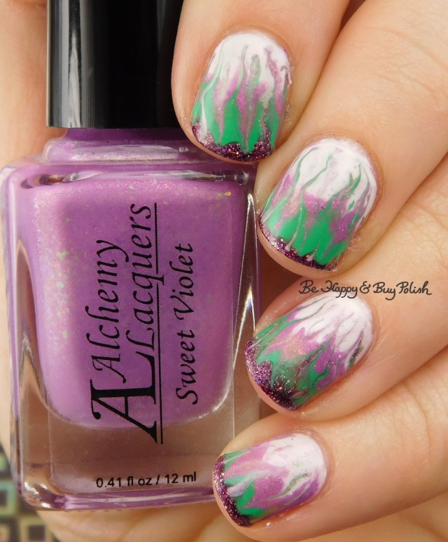 Alchemy Lacquers Sweet Violet, Turtle Tootsie Polishes February, Polish 'M Shamrock, KBShimmer Bling Out Loud drag marble | Be Happy And Buy Polish