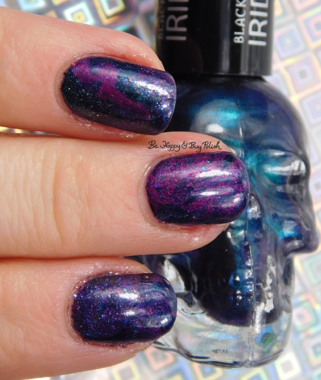 Blackheart Beauty Iridescent Peacock, essie Jamaica Me Crazy, Polish 'M La Magie dry marble nail art | Be Happy And Buy Polish