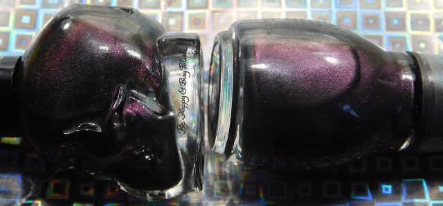 Blackheart Beauty Shimmer Satin Matte compared to Sinful Colors Kylie Konstellation bottle shot close up | Be Happy And Buy Polish
