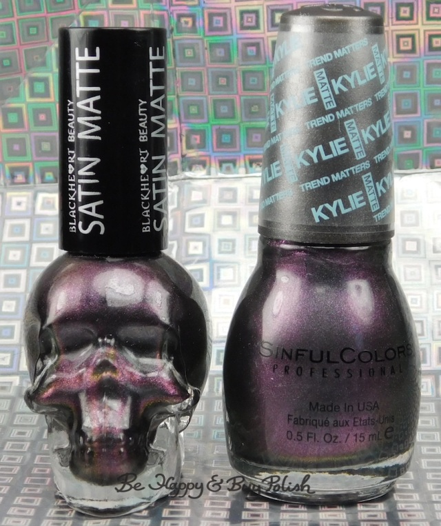 Blackheart Beauty Shimmer Satin Matte compared to Sinful Colors Kylie Konstellation bottle shot | Be Happy And Buy Polish