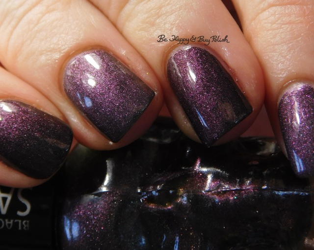 Blackheart Beauty Shimmer Satin Matte compared to Sinful Colors Kylie Konstellation purple shift   Be Happy And Buy Polish