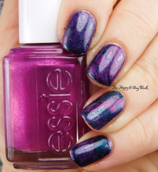 essie Jamaica Me Crazy, Polish 'M La Magie, Blackheart Beauty Iridescent Peacock dry marble nail art | Be Happy And Buy Polish