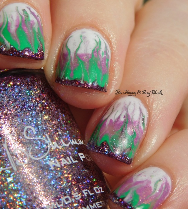 KBShimmer Bling Out Loud, Alchemy Lacquers Sweet Violet, Turtle Tootsie Polishes February, Polish 'M Shamrock drag marble | Be Happy And Buy Polish