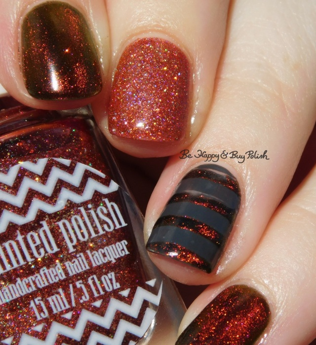 KBShimmer Solar Flare magnetic nail polish, Painted Polish Calls for Chocolate, Fancy Gloss dark grey creme mystery stripe nail art holographic | Be Happy And Buy Polish
