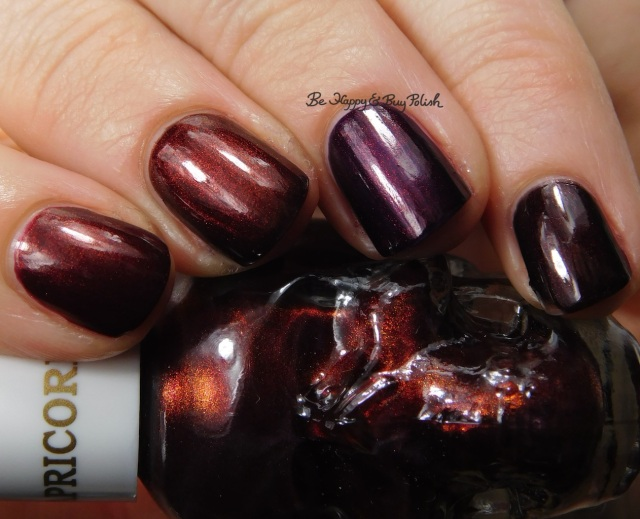 OPI Germanicure, Every Month is Oktoberfest, Midnight in Moscow compared to Blackheart Beauty Capricorn close up | Be Happy And Buy Polish