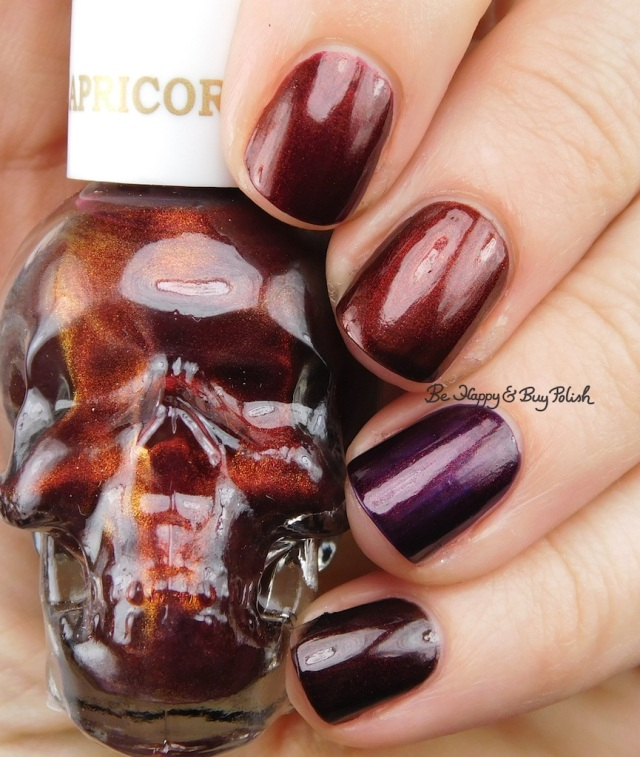 OPI Germanicure, Every Month is Oktoberfest, Midnight in Moscow compared to Blackheart Beauty Capricorn | Be Happy And Buy Polish