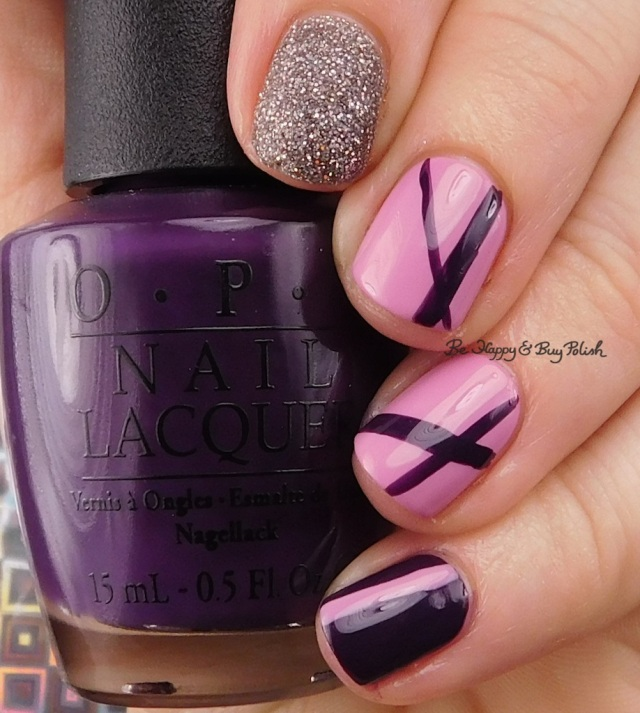 OPI My Voice is a Little Norse, Lucky Lucky Lavender, Vant to Bite My Neck stripe nail art | Be Happy And Buy Polish