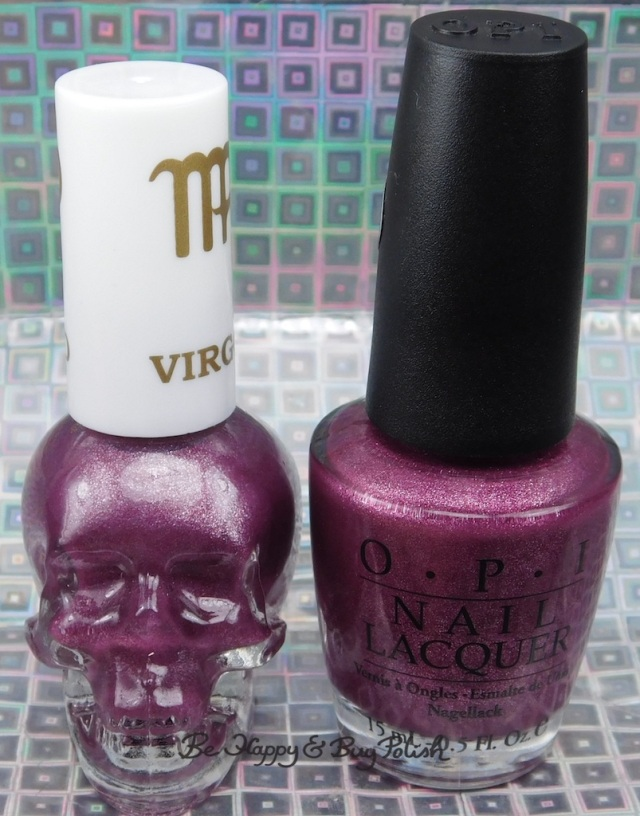 OPI We'll Always Have Paris Suede compared to Blackheart Beauty Virgo bottle shots | Be Happy And Buy Polish