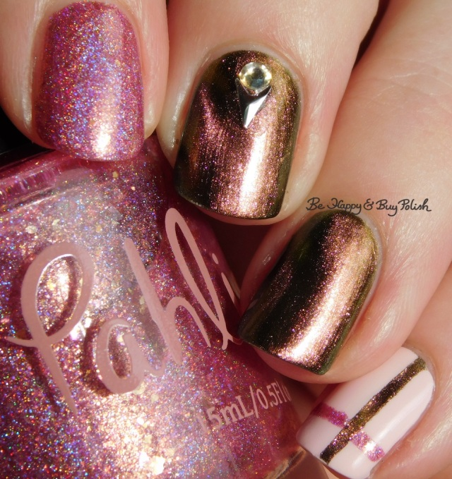 Pahlish The Good Dalek, Sinful Colors Unicorns R Real, KBShimmer Let's Do Launch simple plaid nail art close up | Be Happy And Buy Polish