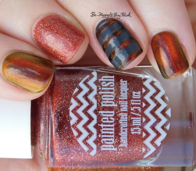 Painted Polish Calls for Chocolate, KBShimmer Solar Flare magnetic nail polish, Fancy Gloss dark grey creme mystery stripe nail art | Be Happy And Buy Polish