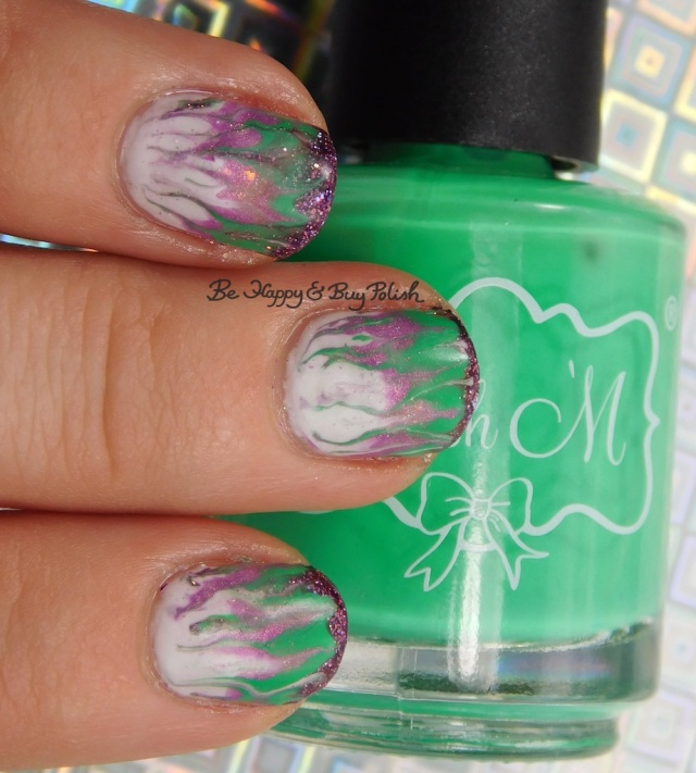 Polish 'M Shamrock, KBShimmer Bling Out Loud, Alchemy Lacquers Sweet Violet, Turtle Tootsie Polishes February drag marble | Be Happy And Buy Polish