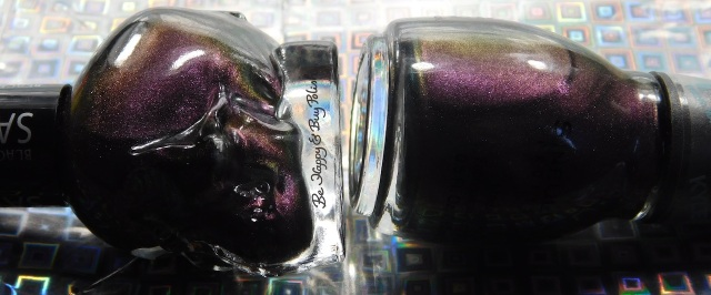 Sinful Colors Kylie Konstellation compared to Blackheart Beauty Shimmer Satin Matte bottle shot | Be Happy And Buy Polish