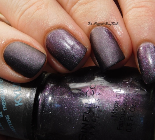 Sinful Colors Kylie Konstellation compared to Blackheart Beauty Shimmer Satin Matte close up | Be Happy And Buy Polish