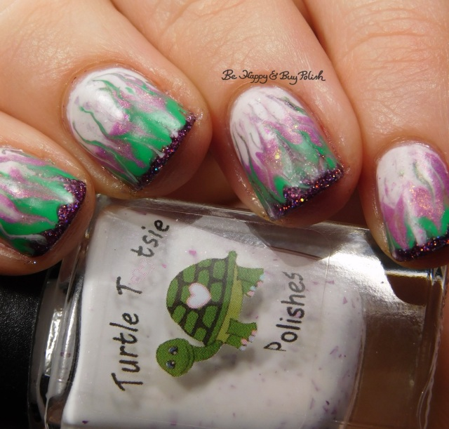 Turtle Tootsie Polishes February, Polish 'M Shamrock, KBShimmer Bling Out Loud, Alchemy Lacquers Sweet Violet drag marble | Be Happy And Buy Polish