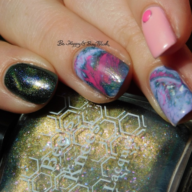 Bee's Knees Lacquer The World magnetic nail polish, OPI Suzi Shops & Island Hops, Sinful Colors Purpunk Transforming Top Coat, B Squared Lacquer Kandi fluid nail art manicure | Be Happy And Buy Polish