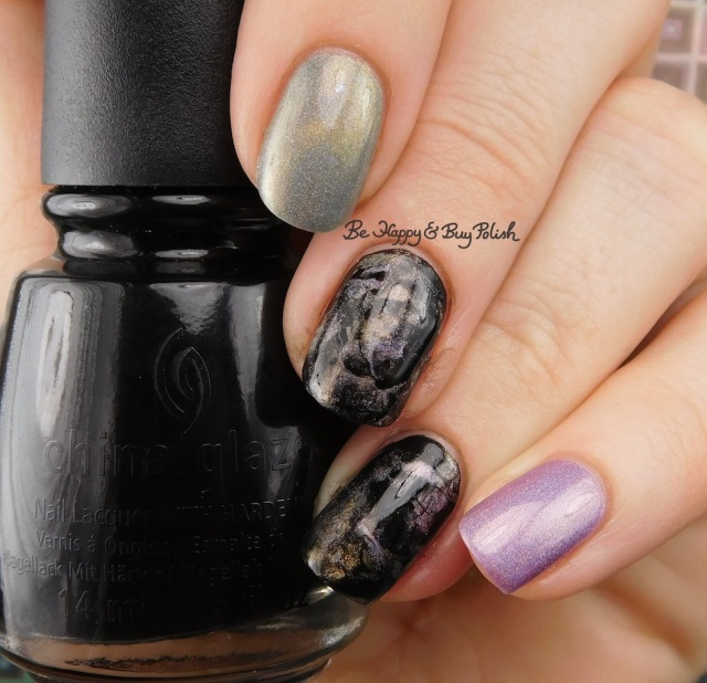 China Glaze Liquid Leather, Bee's Knees Lacquer Cat Island, Bad Bitch Polish November Dusk marbled nail art | Be Happy And Buy Polish