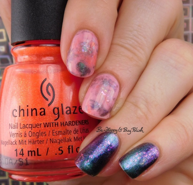 China Glaze Papa Don't Peach, Bee's Knees Lacquer The Magician, LA Colors Sheer Kiss smooshy skittlette manicure   Be Happy And Buy Polish