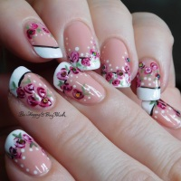 French manicure with roses and dots