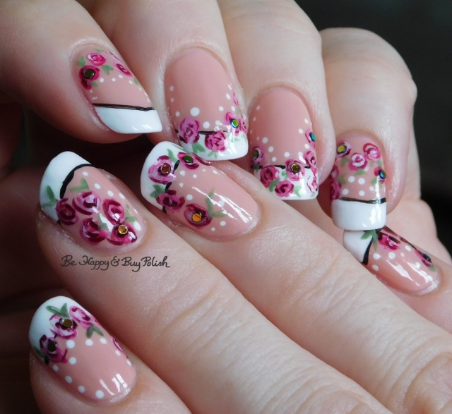 french manicure with handpainted roses and dots | Be Happy And Buy Polish