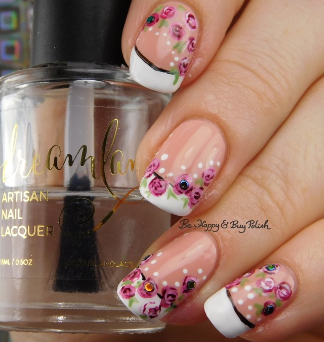 french manicure with roses and dots | Be Happy And Buy Polish