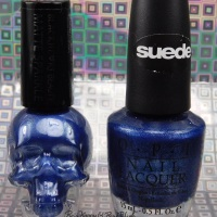 Hot Topic Blackheart Beauty Blue Matte Sparkle compared to OPI Russian Navy Suede