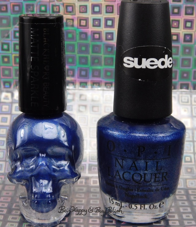 Hot Topic Blackheart Beauty Blue Matte Sparkle, OPI Russian Navy Suede bottle shot comparisons | Be Happy And Buy Polish