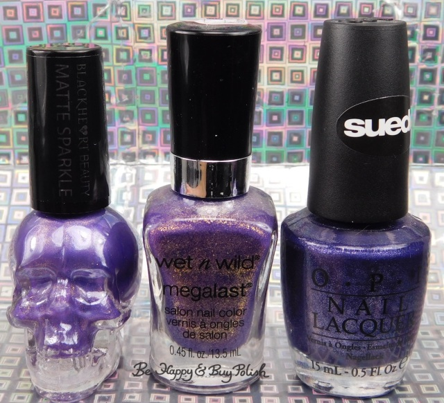 Hot Topic Blackheart Beauty Purple Matte Sparkle, Wet N Wild Happy Hour Hop, OPI Ink Suede bottle shot comparison | Be Happy And Buy Polish