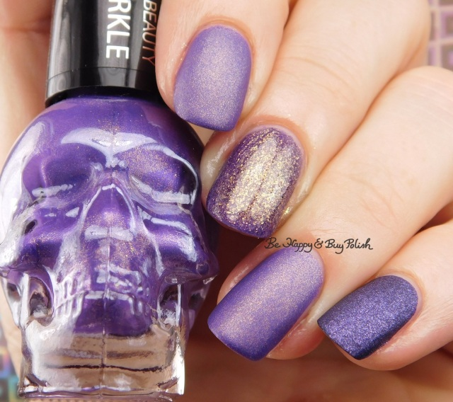 Hot Topic Blackheart Beauty Purple Matte Sparkle, Wet N Wild Happy Hour Hop, OPI Ink Suede comparison swatch | Be Happy And Buy Polish